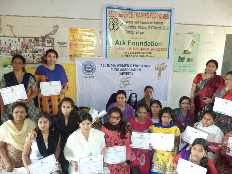Certificate distribution of Self Defence Training at Ark Foundation March 2015