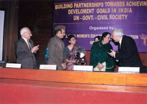 Ms. Meery Barua receiving the 1st Nina Sibal Award from Dr. Najma Heptulla