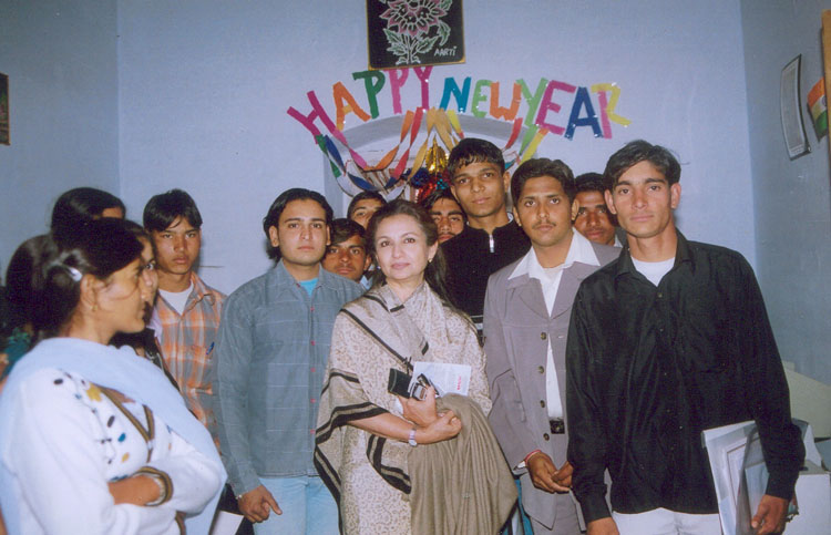 Ms. Sharmila Tagore with a youth group, Pataudi Village, Gurgaon