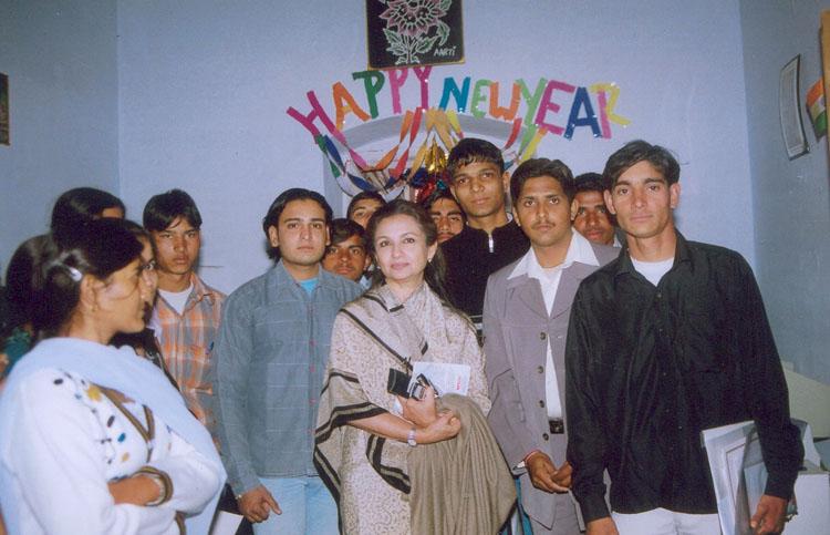 Ms. Sharmila Tagore with a youth group, Pataudi Village, Gurgaon