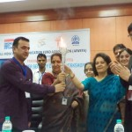President, AIWEFA, handing over the Cyber Security Torch to Vice Chancellor, Amity Univ. Uttar Pradesh.