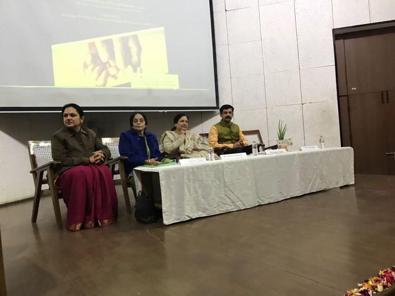 "Panelists at the workshop on "" Promoting Intergenerational Bonding"" at Shivjaji College -2017"